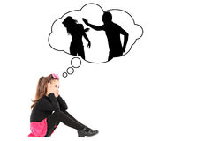An illustration of traumatized little girl recalling her parents. An illustration of a traumatized little girl recalling her parents fighting isolated on white royalty free stock photos