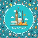 Illustration of travel flat design postcard with Stock Image
