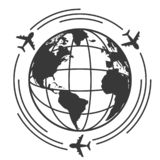 Travel icons with airplane fly around the earth stock illustration