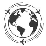 Travel icons with airplane fly around the earth royalty free illustration