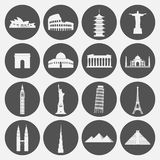 Travel landmarks icon set in paper style stock illustration