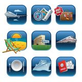 Travel and resort icons. Illustration of travel and resort icons and buttons Royalty Free Stock Images