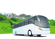 Bus tavel in the mountains. Illustration of travel tour bus with mountain range in background and copy space Royalty Free Stock Images