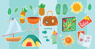 Illustration Of Travel And Vacation Icons Royalty Free Stock Photography
