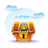 Illustration of treasure chest on a background of clouds Stock Photos
