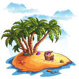 Illustration of treasure island and palms Royalty Free Stock Images
