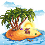 Illustration of Treasure Island with a trunk Royalty Free Stock Images
