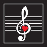 Illustration with treble clef and heart on black background Royalty Free Stock Photo