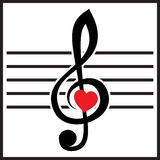 Illustration with treble clef and heart on white background Royalty Free Stock Image