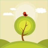 Illustration of a tree and a bird Stock Photo