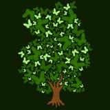 Illustration tree of butterflies. On dark green background Royalty Free Stock Photo