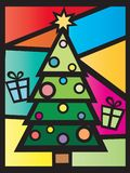 Tree christmas card. Illustration of tree christmas with decorations and gifts Royalty Free Stock Images