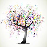 Abstract music tree. Illustration of a tree with colorful Music notes stock illustration
