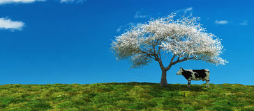 Illustration of a tree in a field Stock Photo