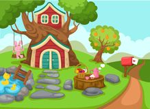 Illustration of a tree house in rural landscape. Vector royalty free illustration