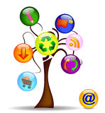 Illustration with tree and the main business icons Royalty Free Stock Photography