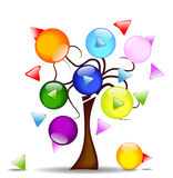 Illustration with tree and multi-directional butto Stock Photography