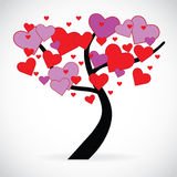 Illustration of a tree with red and pink heart shaped leaves Royalty Free Stock Photo