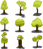 Illustration tree set Royalty Free Stock Photos