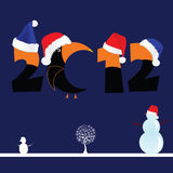 Illustration of 2012 with tree and snowman. On blue vector illustration