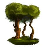 Illustration of a tree. A tree with a green foliage. A large image on an isolated background Stock Photo