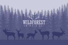 Illustration with trees and deer silhouettes Royalty Free Stock Photo