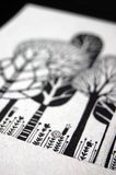 Illustration with trees and flowers. In black and white Royalty Free Stock Photo