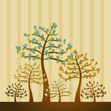 Illustration with trees,vector Royalty Free Stock Photos