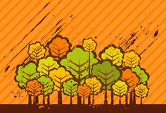 Illustration with trees,vector Royalty Free Stock Images