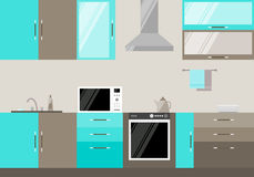 Illustration in trendy flat style with blue and beige compound kitchen interior for use in design Stock Photos