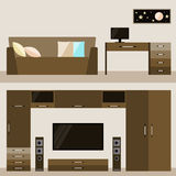 Illustration in trendy flat style with brown beige room interior for use in design Stock Photo