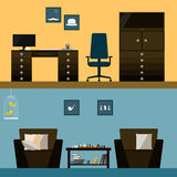 Illustration in trendy flat style with men's room interior  on bright stylish cover Royalty Free Stock Images