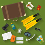 Illustration in trendy flat style with objects with long shadows used modern people on vacation  on green background. For use in design for card, poster, banner Stock Image