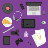 Illustration in trendy flat style with objects used in usual life of people on purple background for use in design. Vector illustration in trendy flat style with vector illustration