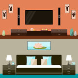 Illustration in trendy flat style with room and bedroom interior for use in design for for card, invitation, poster, banner Stock Images