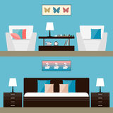 Illustration in trendy flat style with room interior isolated on bright stylish blue cover for use in design Stock Photography