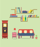 Illustration in trendy flat style with room interior isolated on green cover. Design Stock Photos