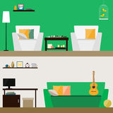 Illustration in trendy flat style with room interior isolated on stylish bright green and soft beige cover for use in design Royalty Free Stock Image