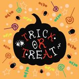Illustration of trick or treat stock photos
