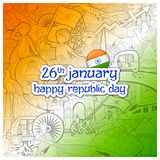 Tricolor banner with Indian flag for 26th January Happy Republic Day of India. Illustration of tricolor banner with Indian flag for 26th January Happy Republic Stock Photo
