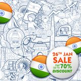 Tricolor banner with Indian flag for 26th January Happy Republic Day of India. Illustration of tricolor banner with Indian flag for 26th January Happy Republic Stock Photography