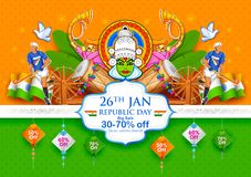 Tricolor banner with Indian flag for 26th January Happy Republic Day of India. Illustration of tricolor banner with Indian flag for 26th January Happy Republic Royalty Free Stock Image