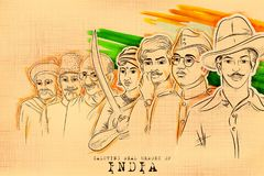 Tricolor India background with Nation Hero and Freedom Fighter for Independence Day. Illustration of Tricolor India background with Nation Hero and Freedom Royalty Free Stock Images