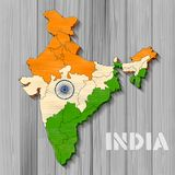 Tricolor Indian Flag map background for Republic and Independence Day of India stock illustration