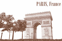 Illustration of the Triumphal Arch in Paris, France. Sketch of the Arc de Triomphe from Paris Stock Images