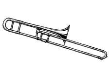 Illustration of trombone. Vector hand drawn illustration of trombone. Black and white, isolated on white royalty free illustration