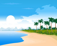 Illustration of the tropical beach. Royalty Free Stock Photos