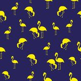 Illustration Tropical exotic birds flamingos summer seamless pattern. Yellow and blue royalty free illustration