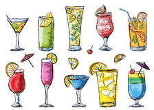 Illustration of tropical exotic cocktails. Royalty Free Stock Photos