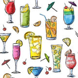 Illustration of tropical exotic cocktails. Seamless pattern. Stock Image